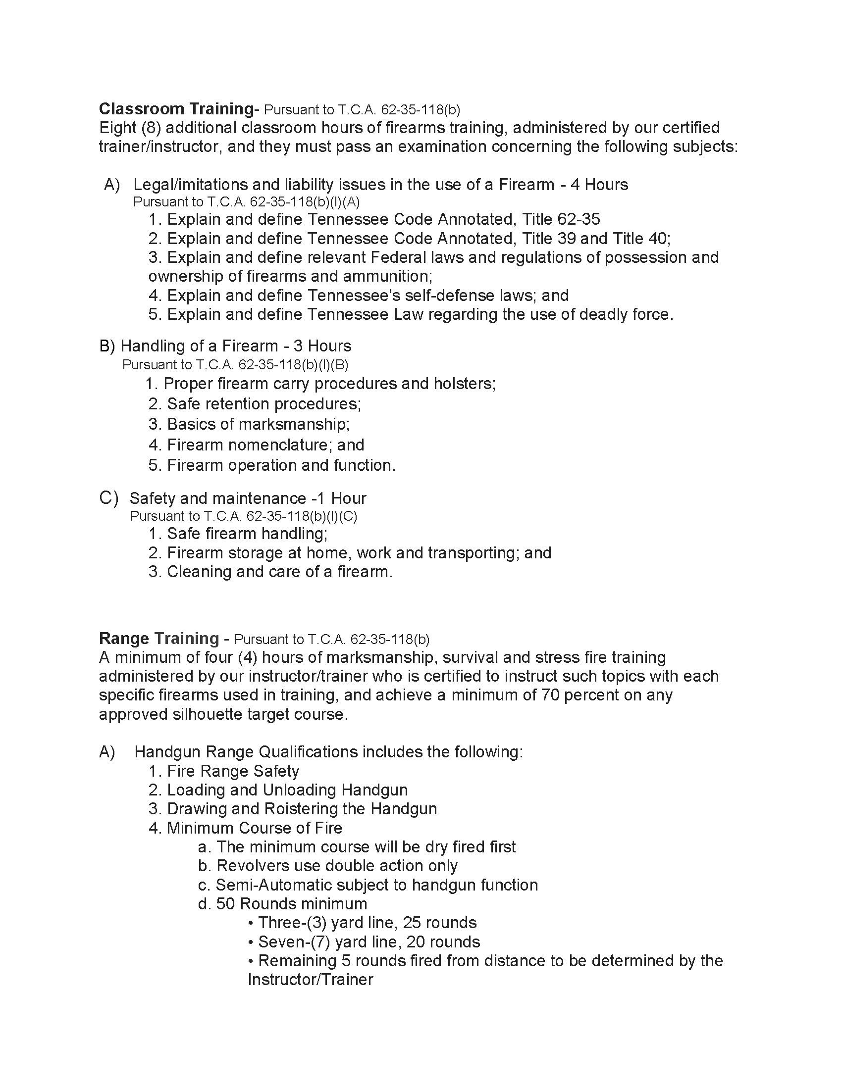 Firearms Training Curriculum Page 1